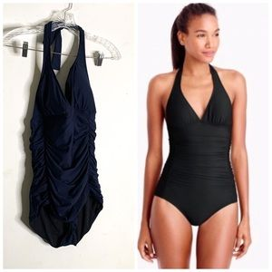 J Crew Ruched Halter One-Piece Swimsuit Style B675